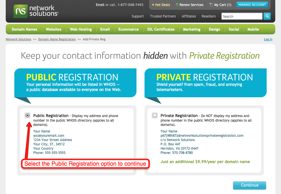 Public registration setting screenshot