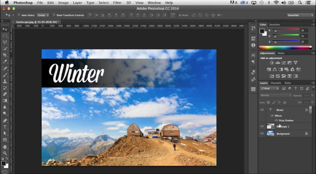 Screenshot of a video explaining Photoshop layers